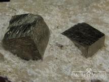 Piryty w marglu talkowo-chlorytowym - bardzo ładne kryształy